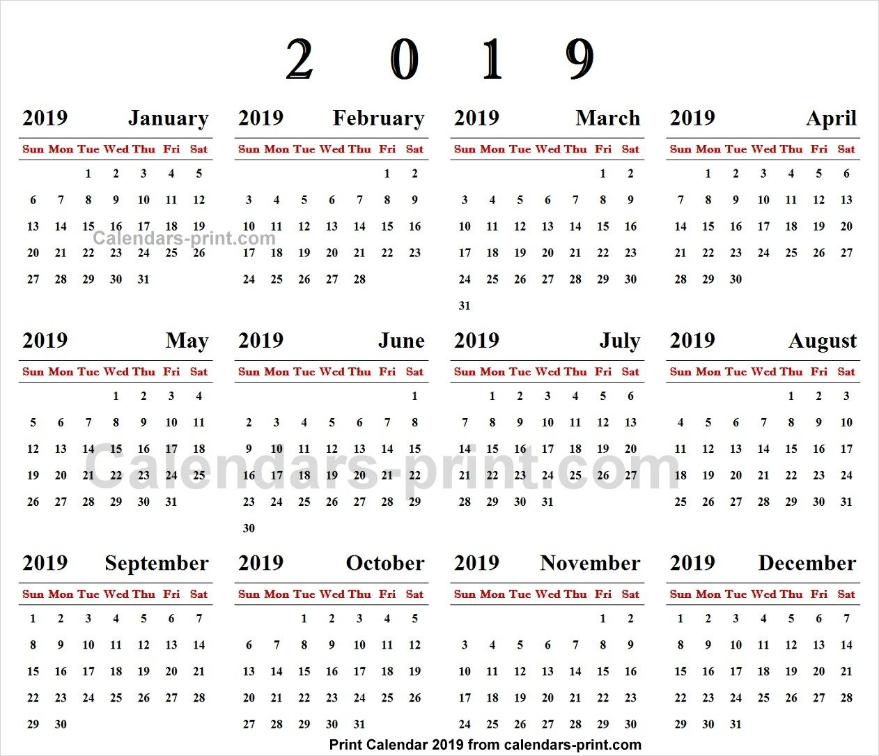 Print Online Calendar 2019 Online Calendar 2019 | 2019 Yearly Calendar | Online calendar