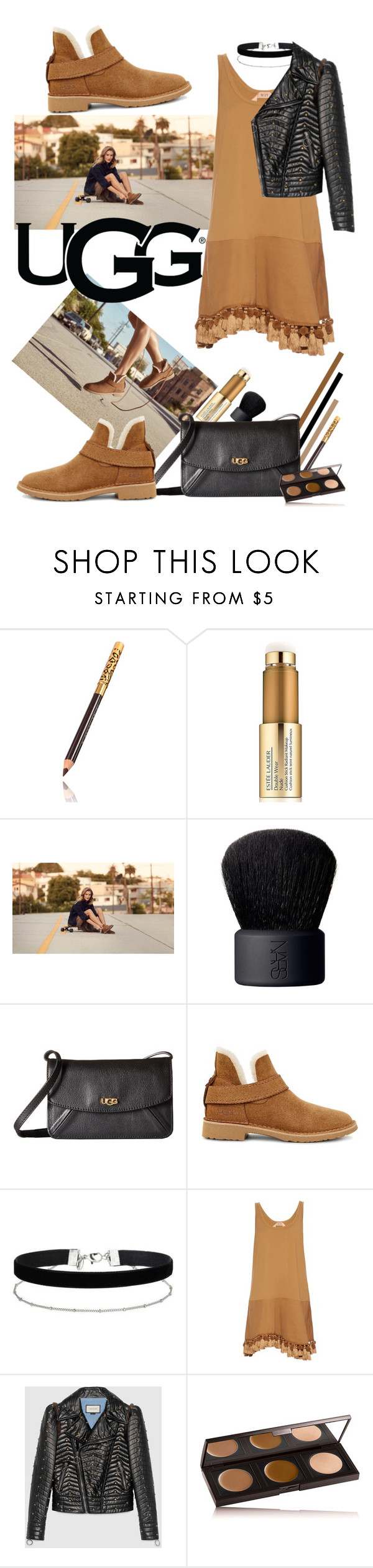 """""""The New Classics With UGG: Contest Entry"""" by iraavalon ❤ liked on Polyvore featuring Estée Lauder, UGG, NARS Cosmetics, Miss Selfridge, N°21, Gucci, Laura Mercier and ugg"""