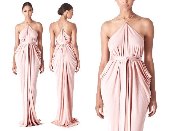 Blush Bridesmaids Dress, Blush Prom Dress, Blush Draped Gown, Blush ...