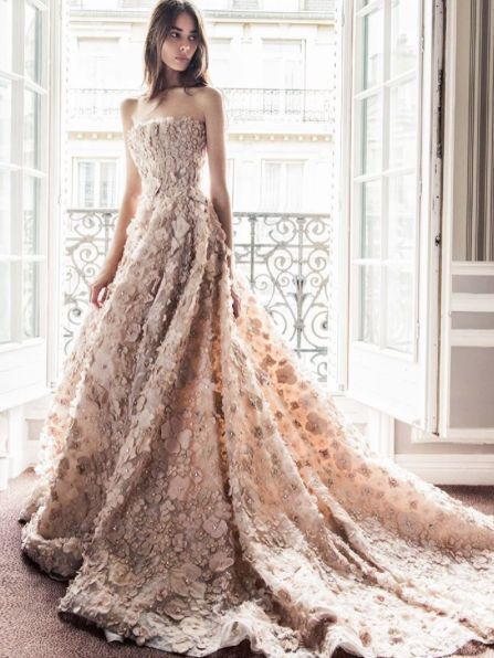 Image result for beige floral gown