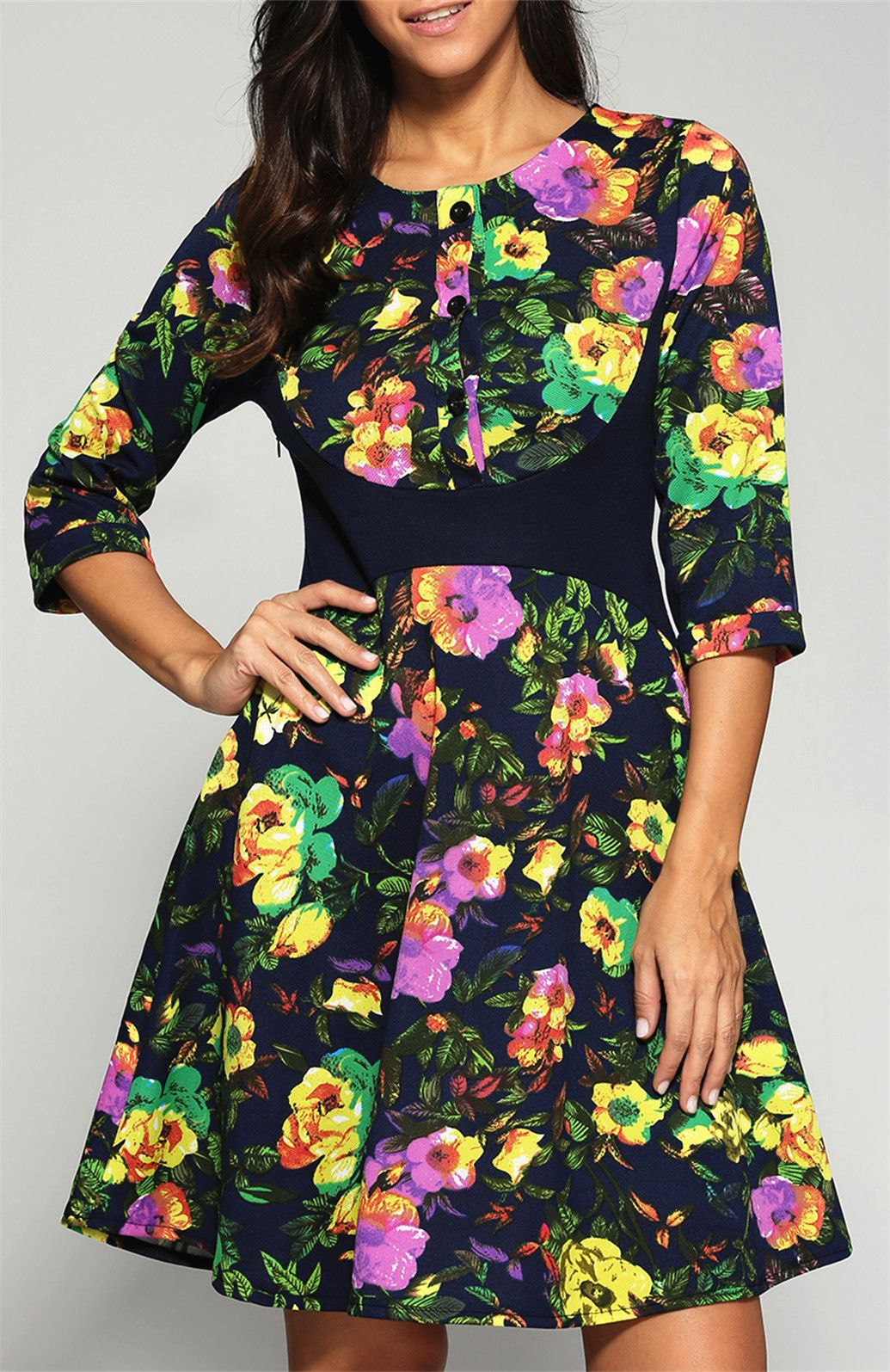 $25.19 Buttoned High Waisted Floral Printed Dress