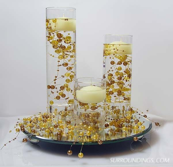 Sconce cylinders floating beads centerpiece