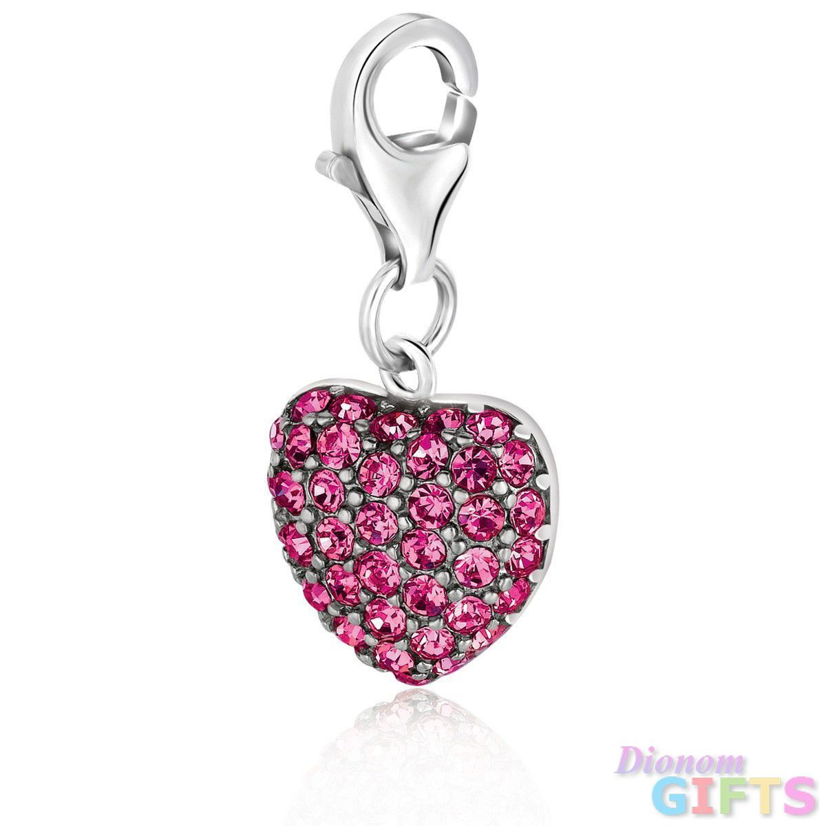 Sterling silver heart charm embellished with pink tone crystal