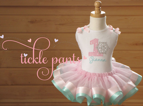 Items similar to Winter Wonderland Pink & Silver Holiday 3 Piece Girls First, Second, Third, Fourth Birthday Glitter Tutu Outfit Choose Size, Name, Number on Etsy