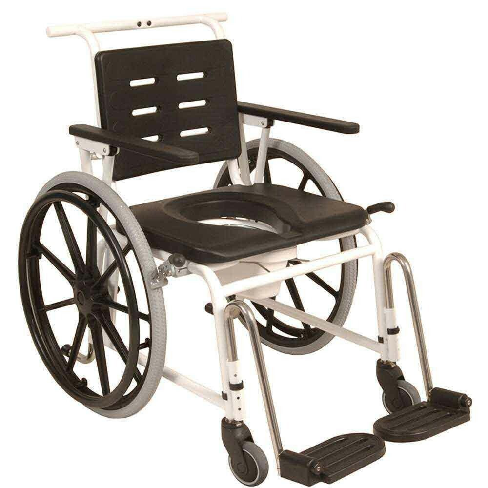 Combi Comode Self Propelled Shower Chair Stainless Steel Frame With Pu Soft Mounded Seat Arm Rest And B Stainless Steel Frame Shower Wheelchair Shower Chair