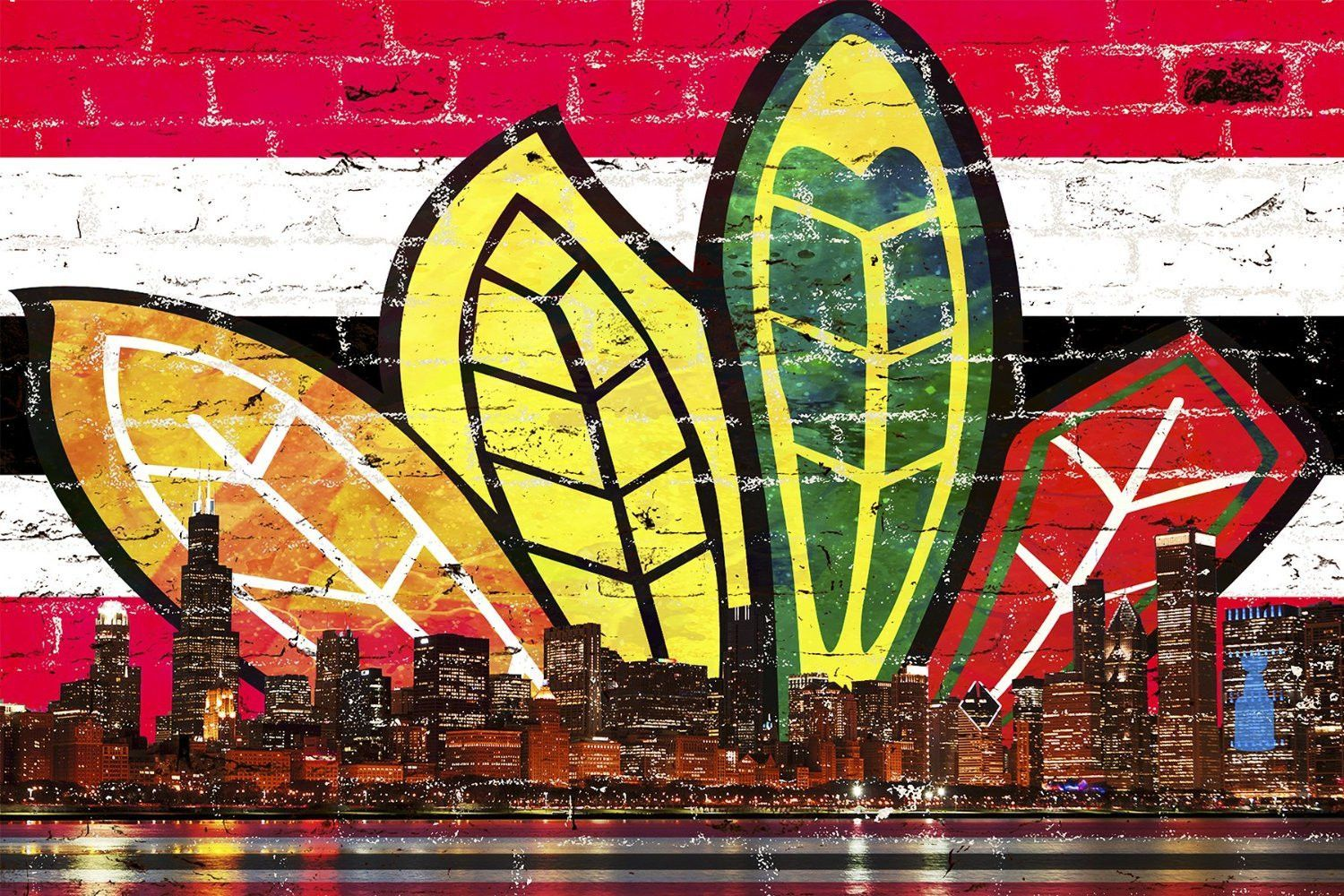 Chicago Feather Red & Black Skyline   Red black and Chicago