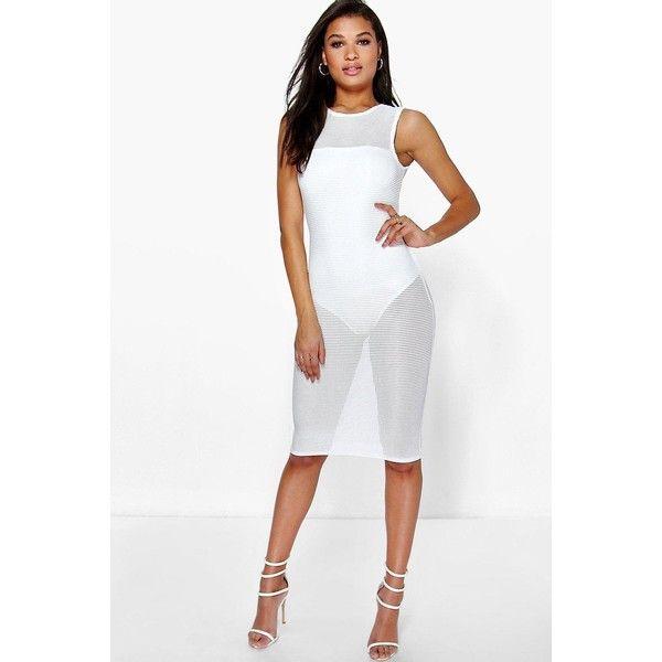 d7937fb15477 Boohoo Night Joanie Sleeveless Mesh Midi Dress With Body ( 35) ❤ liked on  Polyvore