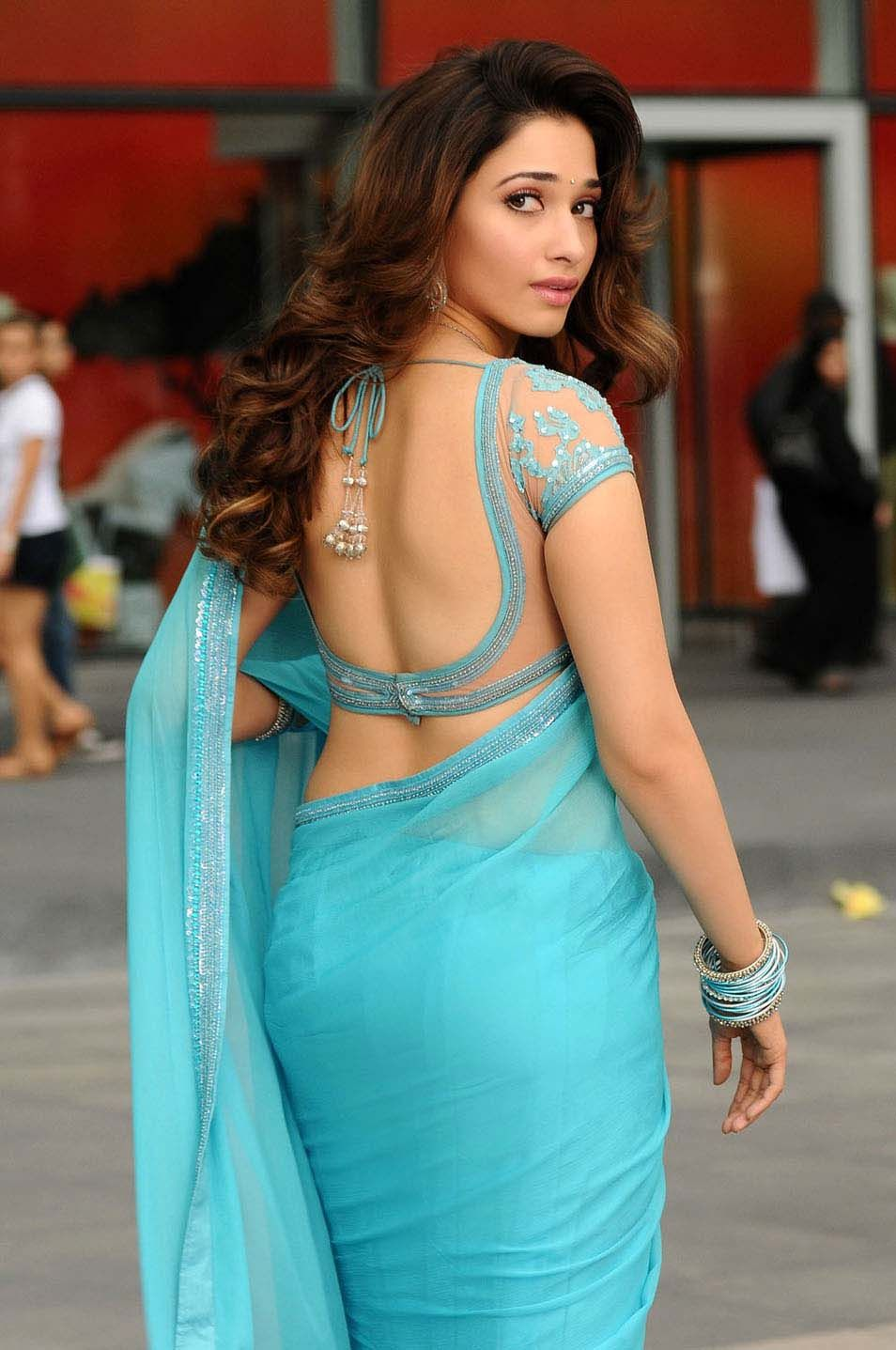 Tamanna Latest blue Saree Photos from rebel movie