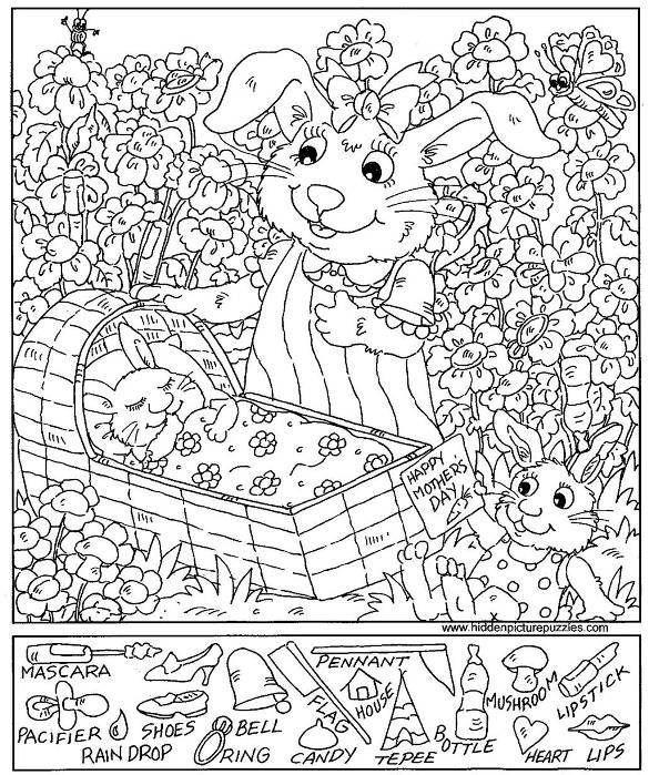 mother 39 s day rabbit hidden picture hidden pictures hidden pictures printables hidden. Black Bedroom Furniture Sets. Home Design Ideas