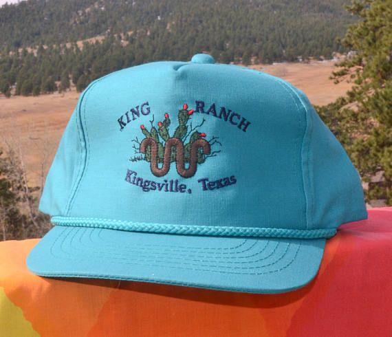f5471c26bc84ff vintage 80s baseball cap KING RANCH kingsville texas cattle travel ...