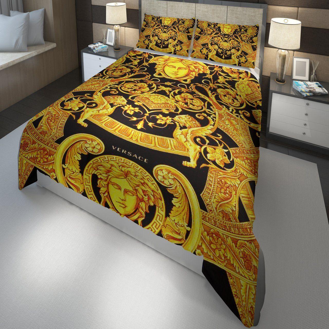 Biancheria Da Letto Versace.Versace Barocco Logo Golden Custom 3d Customized Bedding Sets Duvet Cover Bedlinen Bed Set Set Di Biancheria Da Letto Idee Letto Copripiumino