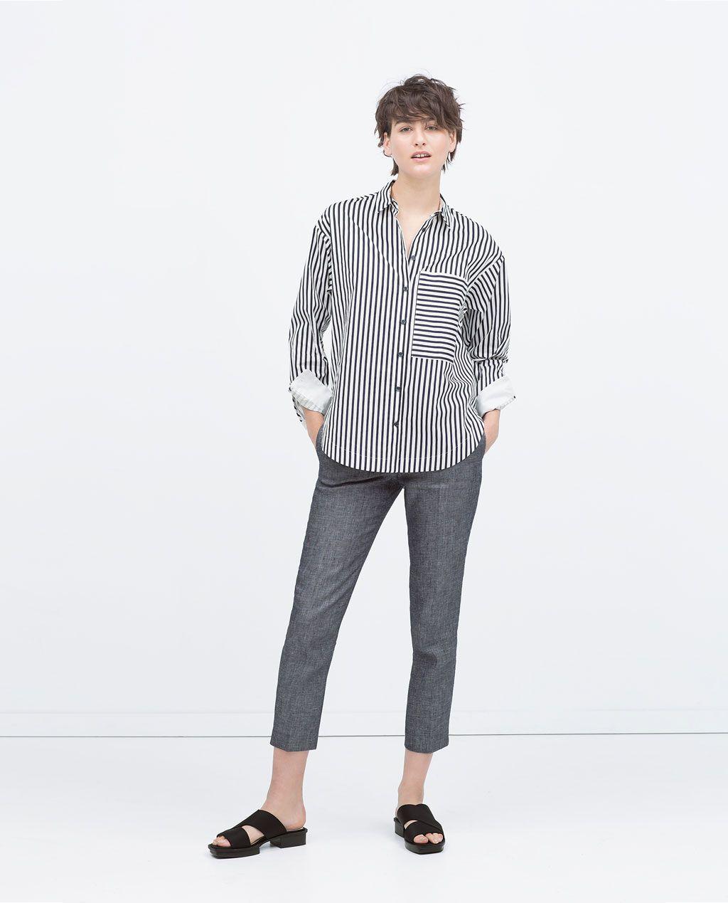 ZARA的图片 1 名称 加大碼口袋條紋襯衫