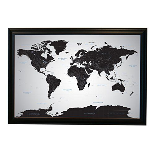 Black ice world push pin travel map with pins 24x36 black world map contemporary poster art print gumiabroncs Image collections