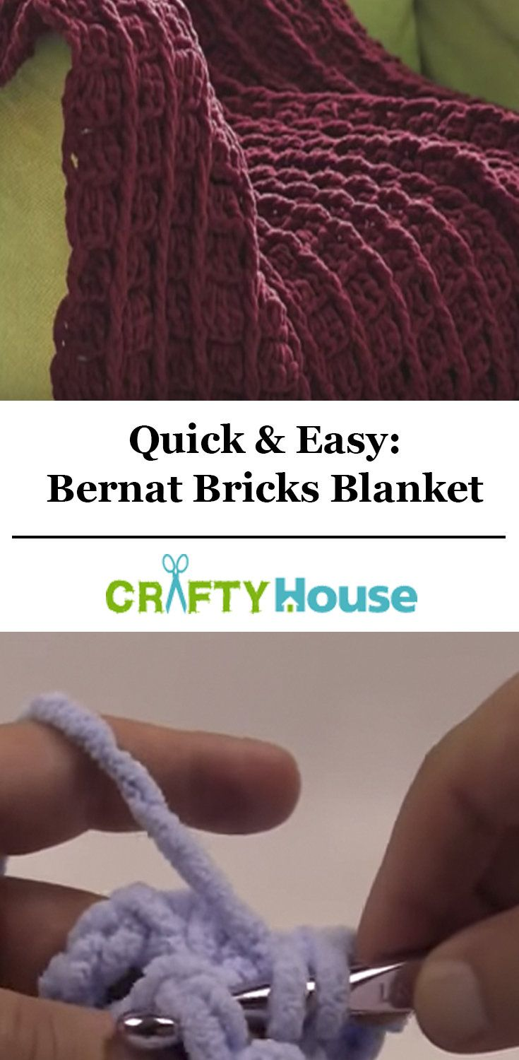 ce4ca1d92fc9 Crochet This Bernat Bricks Blanket In Just A Few Hours!