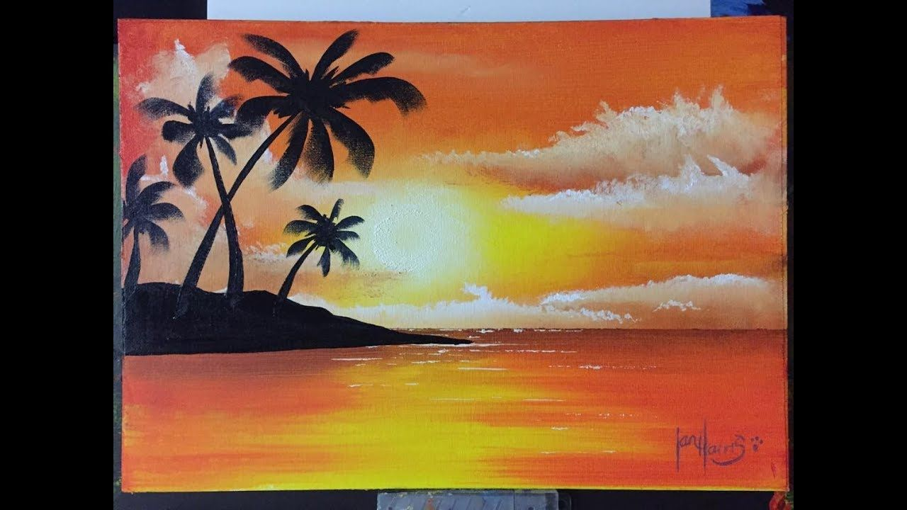 How To Paint Easy Palms With A Sunset Palm Island Youtube