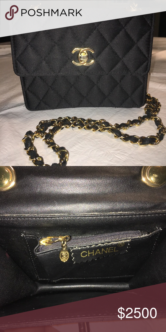 f51acc4b4f7f Chanel vintage satin crossbod flip bag 100% authentic, vintage from late  1980's, very rare, amazing condition, turnlock is gold plated, cc logo,  black satan ...