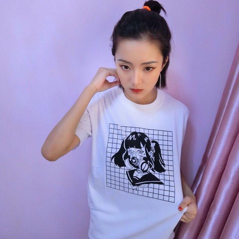 Grid black and white gas mask manga girl tee t shirt