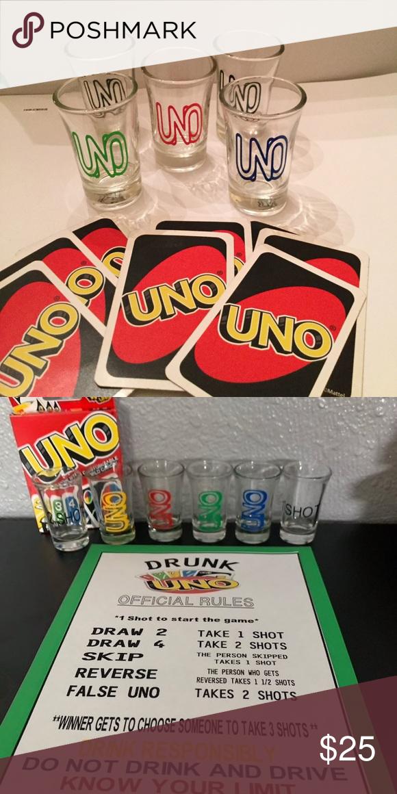 Drunken Uno Game Hours of fun....Shot glass game