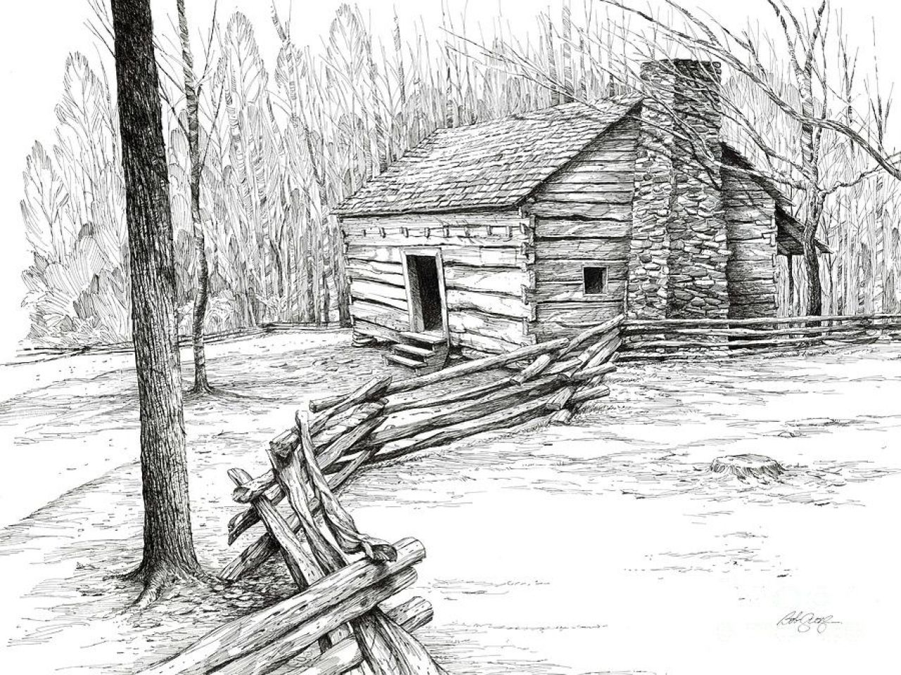 log cabin interiors log cabin pen and ink drawings  log