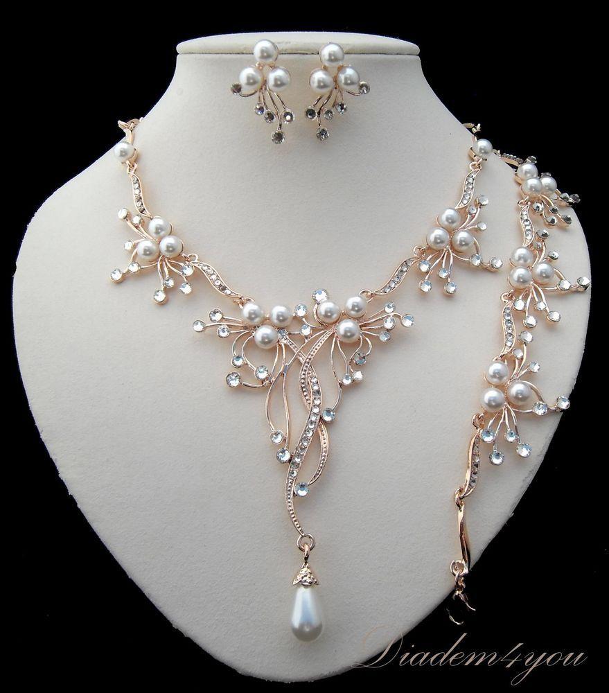 Collier rosegold Ohrstecker Armband Perlen Strass weiß Tropfen 51 cm ...
