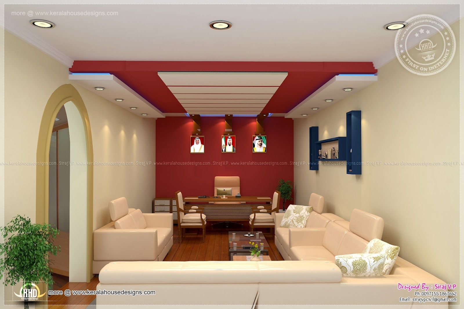 house hall interior design. Home office interior design by Siraj V  Kerala style single floor house plan 1155 Sq Internal