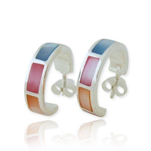 Girls Shell Colorful Ear Studs 925 Sterling Silver