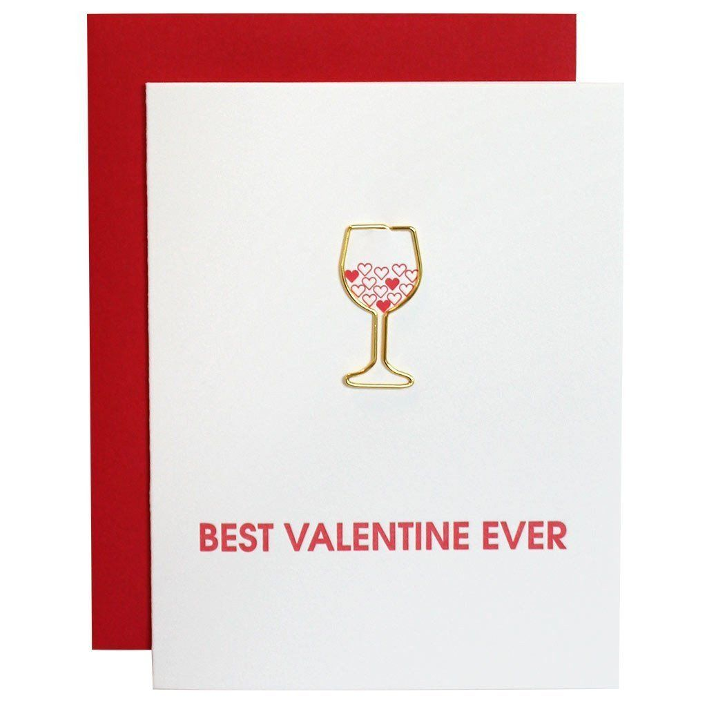 Best Valentine Ever Paper Clip Letterpress Card by Chez Gagne