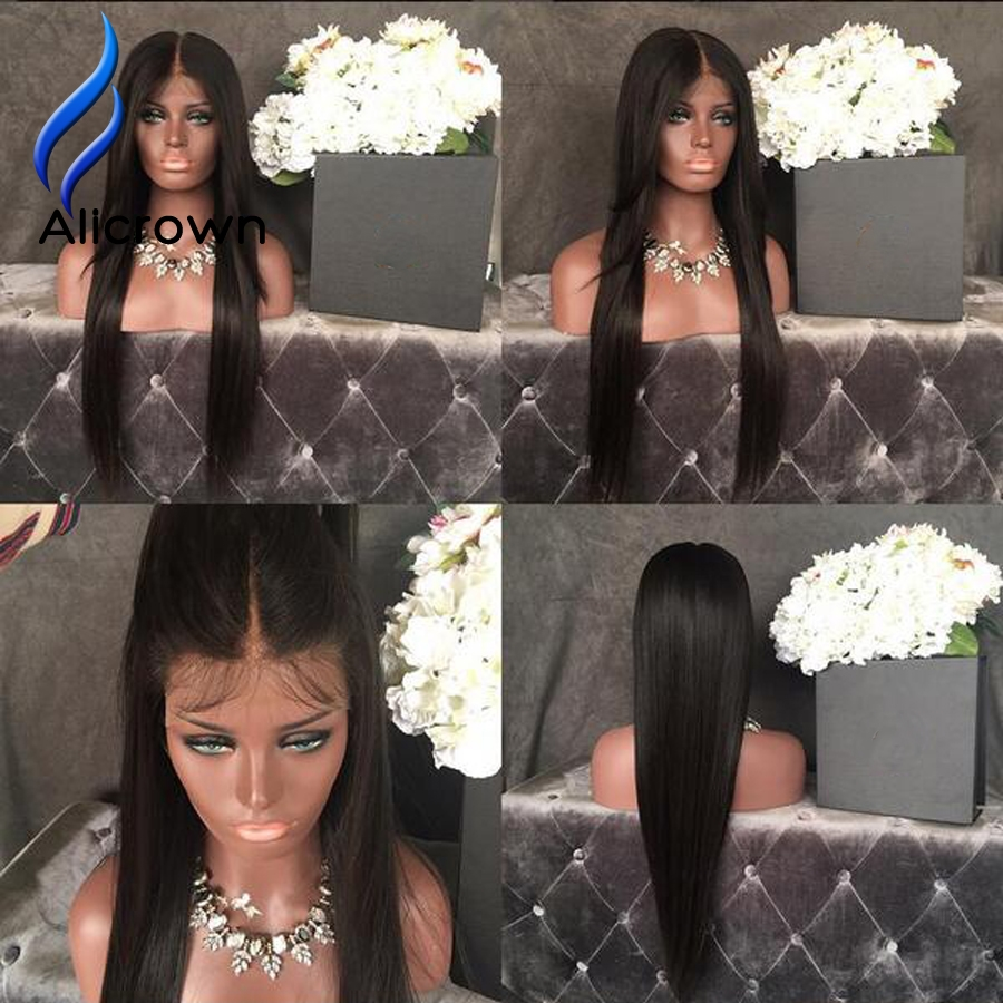 89.04$  Watch now - http://alifv1.worldwells.pw/go.php?t=32791254740 - Alice Glueless Silk Top Lace Front Wigs Brazilian Human Hair Full Lace Wig Straight Full Lace Wig Best Natural Looking Wigs