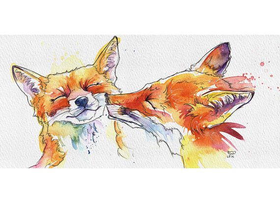 This listing is for 1 of these exclusive greetings card printed from my original Smoochy Foxes watercolour.  Printing Quality: These are