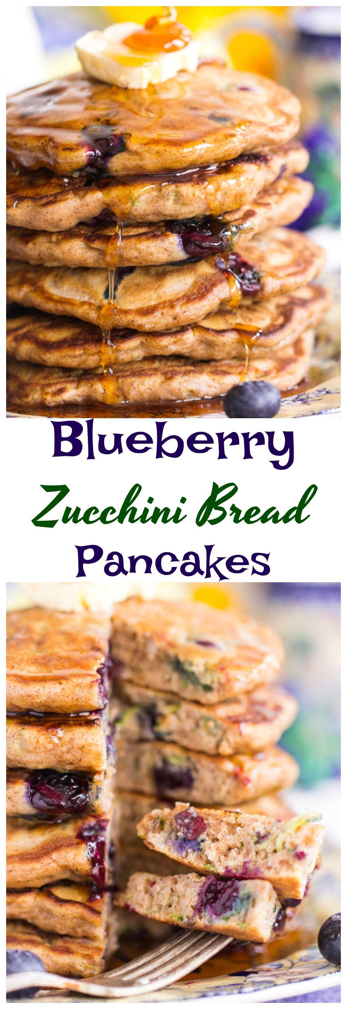 Blueberry Zucchini Bread Pancakes pin thegoldlininggirl ...