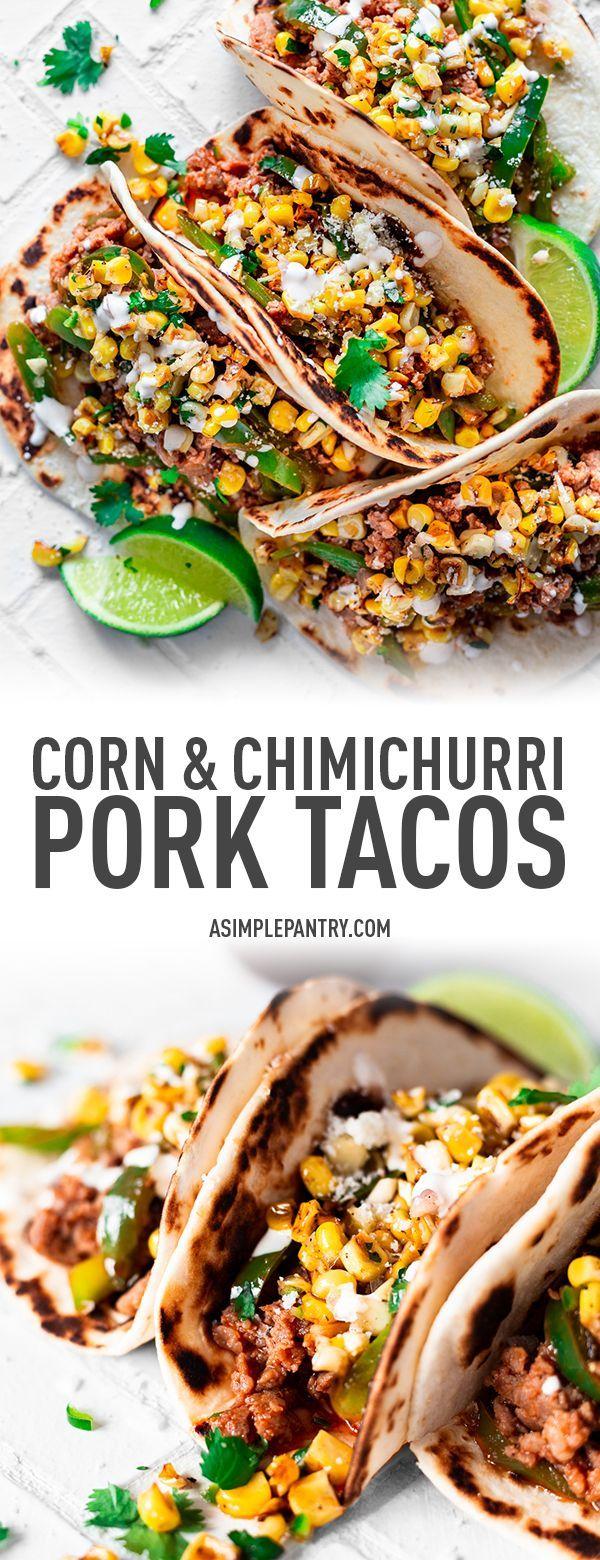 Corn Chimichurri Pork Tacos Recipe