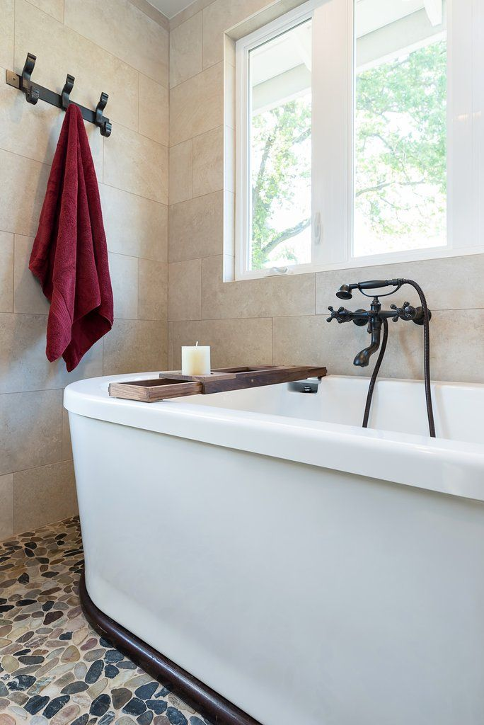 Relax in a jetted tub on pebble tile - spa like feel | Country ...