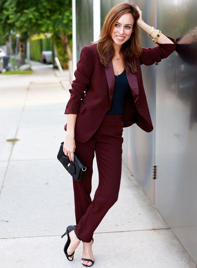 Grace s Pinot Noire wine-colored Victoria s Secret Sydne Style pants suit  with short jacket b728ef8b7