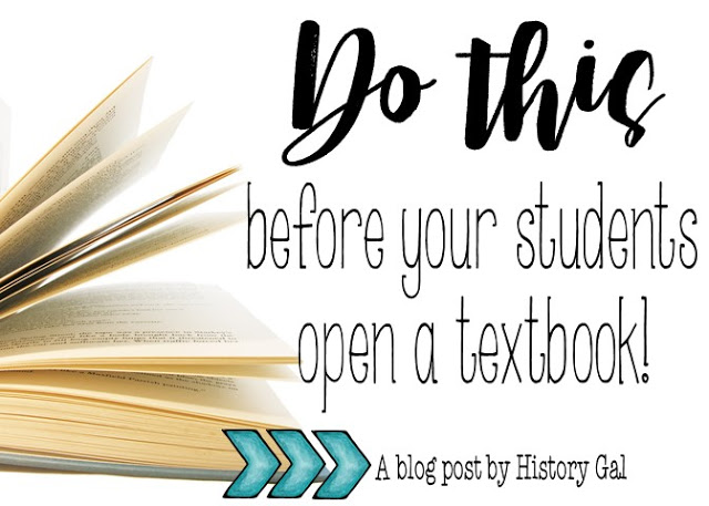 Do This Before Your Students Open a Textbook! is part of Social studies middle school, Middle school classroom management, History lesson plans, Teaching middle school, History textbook, Middle school student - Before your students open a social studies or history textbook, teach them how to read a secondary source  Learn how History Gal teaches it and download a free bookmark that walks students through the steps