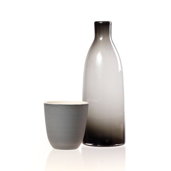 Blown Glass And Ceramics Water Carafe Set In Gray Par Ajmetissage