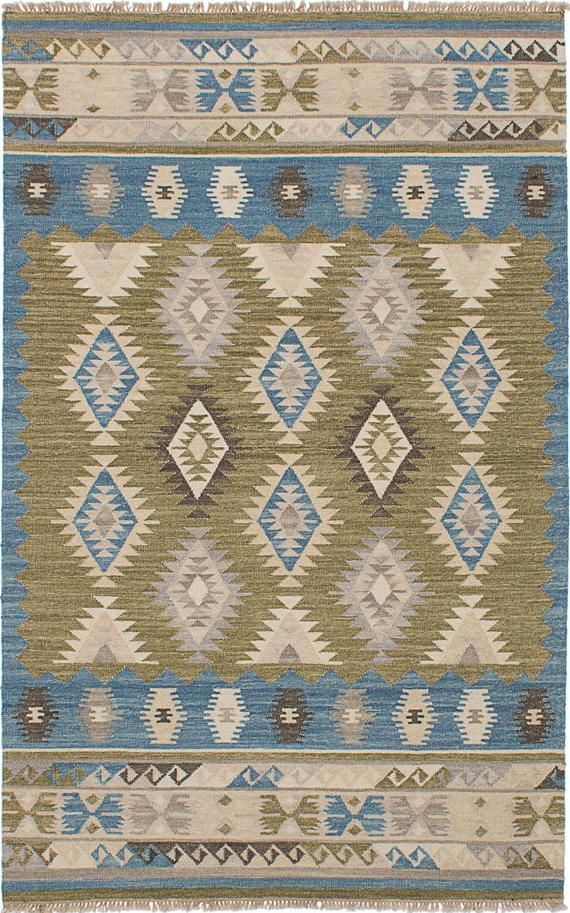 Turkish Rug Esme Kilim Blue And Beige Handmade Wool
