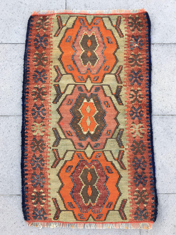 Bohemian small kilim rug Colorful Small rug Turkish kilim rug Handmade small rug Door mat rug