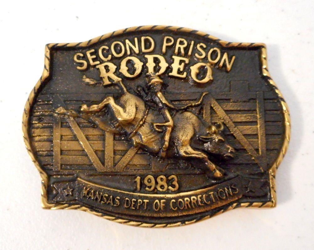 1983 Prison Rodeo Belt Buckle Kansas Ks Department Of