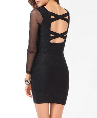 Cutout Back Metallic Mesh Dress (not usually this slutty, but hey, NYE...)