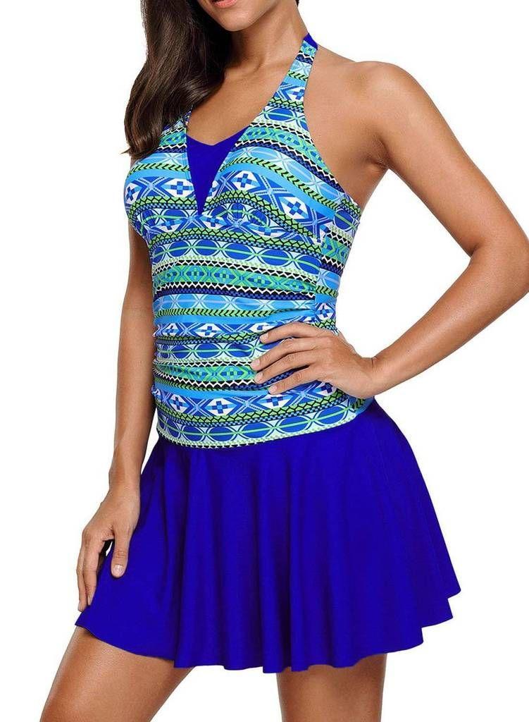 DANALA Womens Two Piece Halter V Neck Plus Size Swimsuit