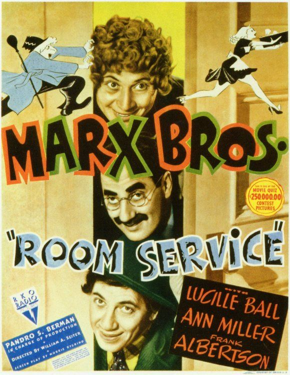 Room Service (1938) Groucho Marx, Chico Marx, Harpo Marx, Lucille Ball, Ann Miller, Frank Albertson