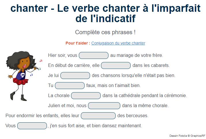 Le Verbe Chanter A L Imparfait De L Indicatif Exercices Conjugaison Conjugaison Cm1 Conjugaison