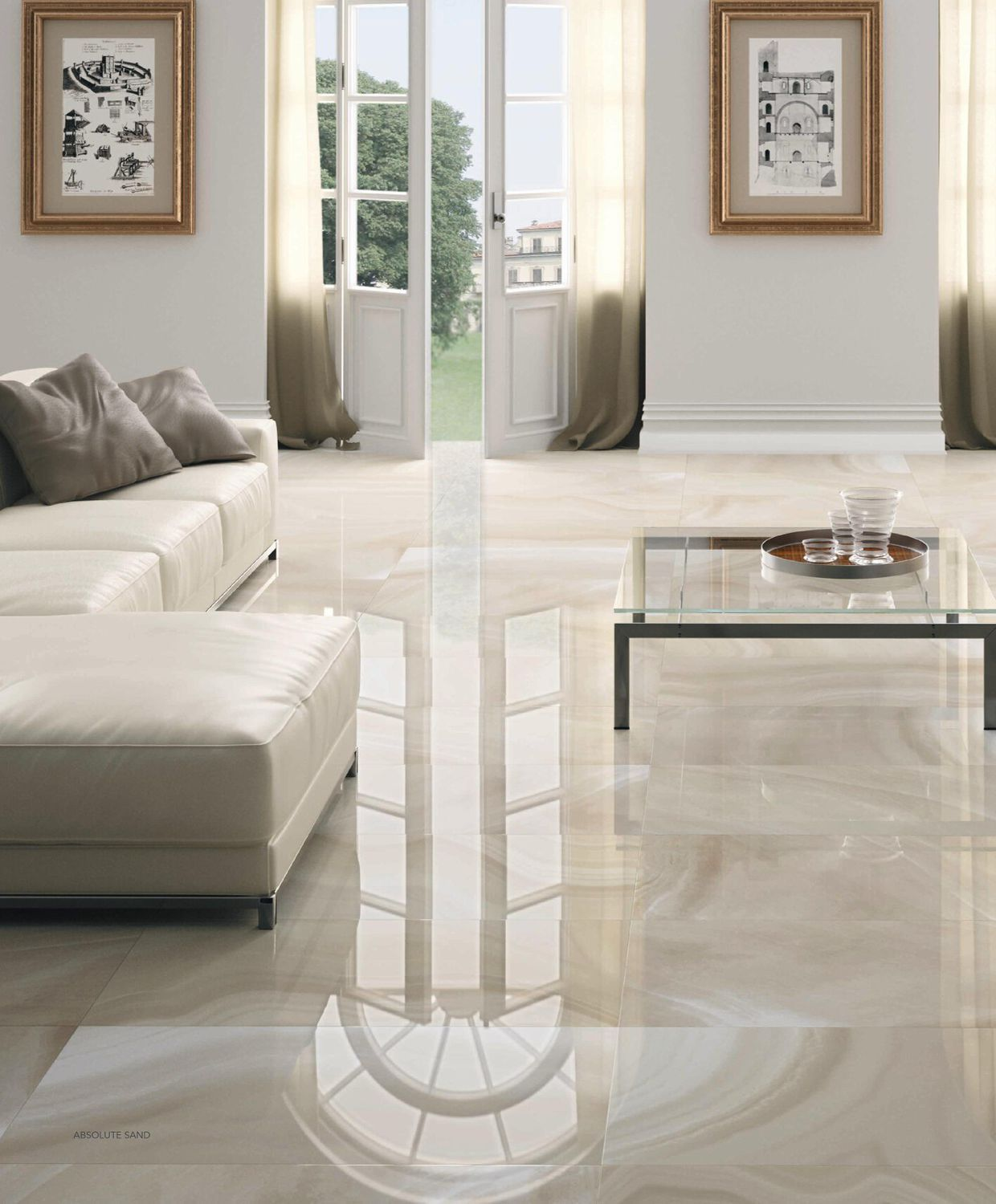 living room tile. Floor tile  porcelain stoneware high gloss stone look HIGH GLOSS ABSOLUTE Elegant penthouse living room with glossy floor tiles a