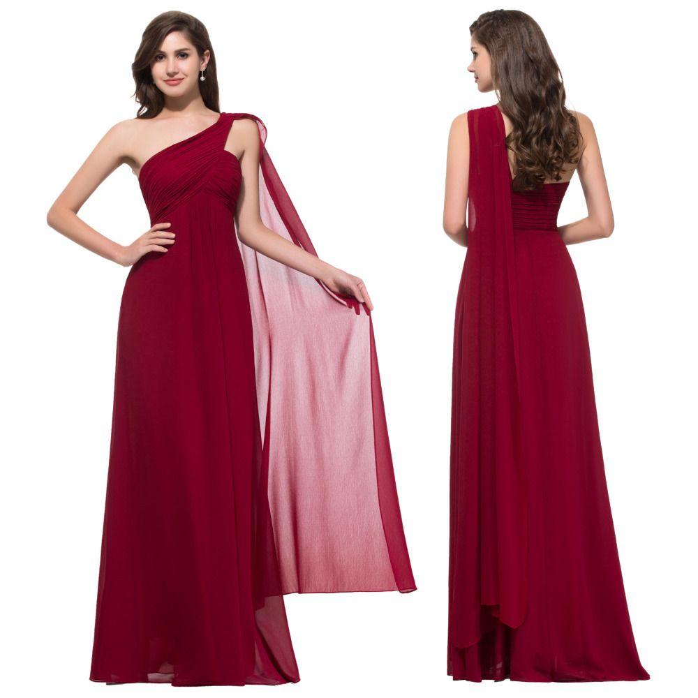 Cheap One Shoulder Red Long Evening Dress 2015 Asymmetrical Robe De Soiree Long Dress Grace Karin Formal Evening Gowns CL008909