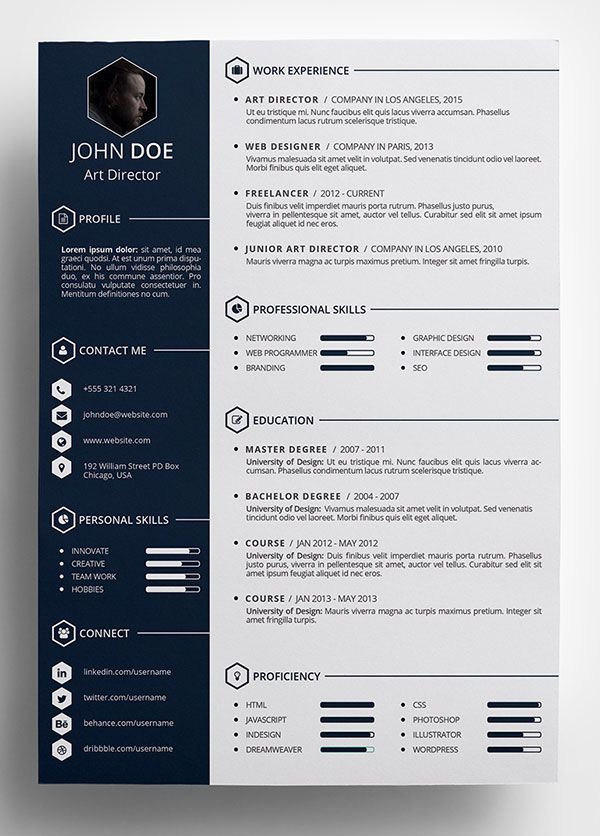 free creative resume template in psd format more - Free Designer Resume Templates