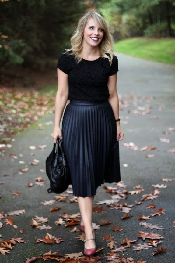 Women's Black Warehouse Leather Look Pleated Midi Skirt ...