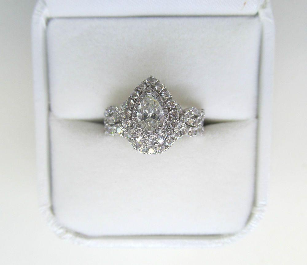 14k White Gold Neil Lane Pear Double Halo Bridal Set 1