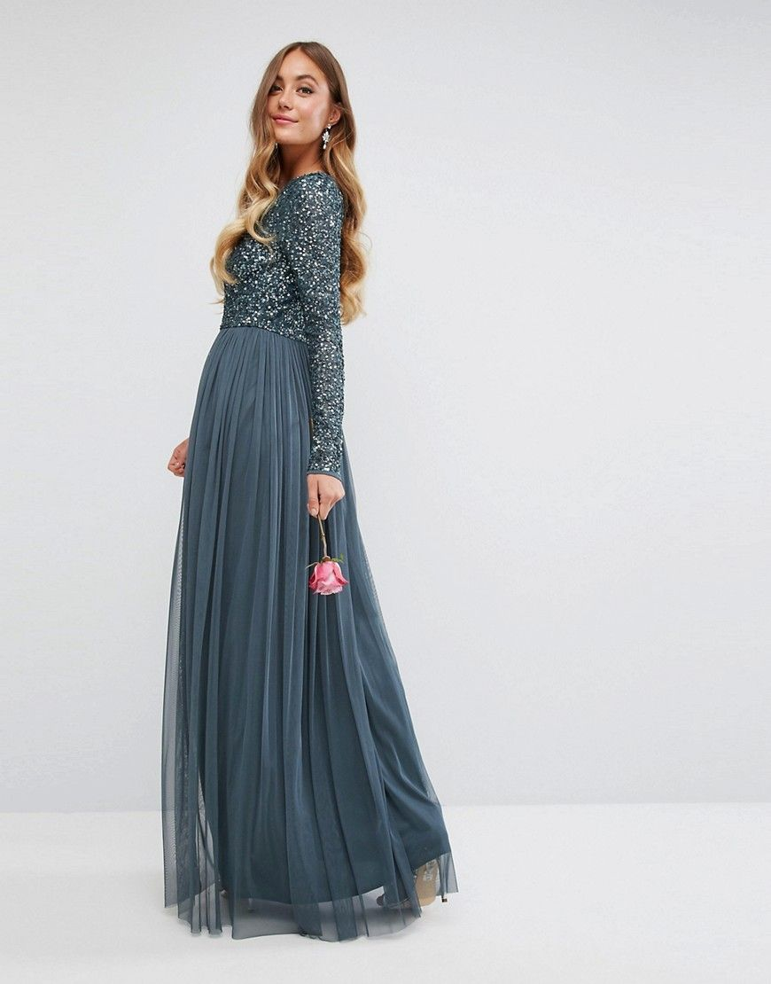 00384ed43 Maya Tall Plunge Front Long Sleeve Maxi Dress In Tonal Delicate Sequin