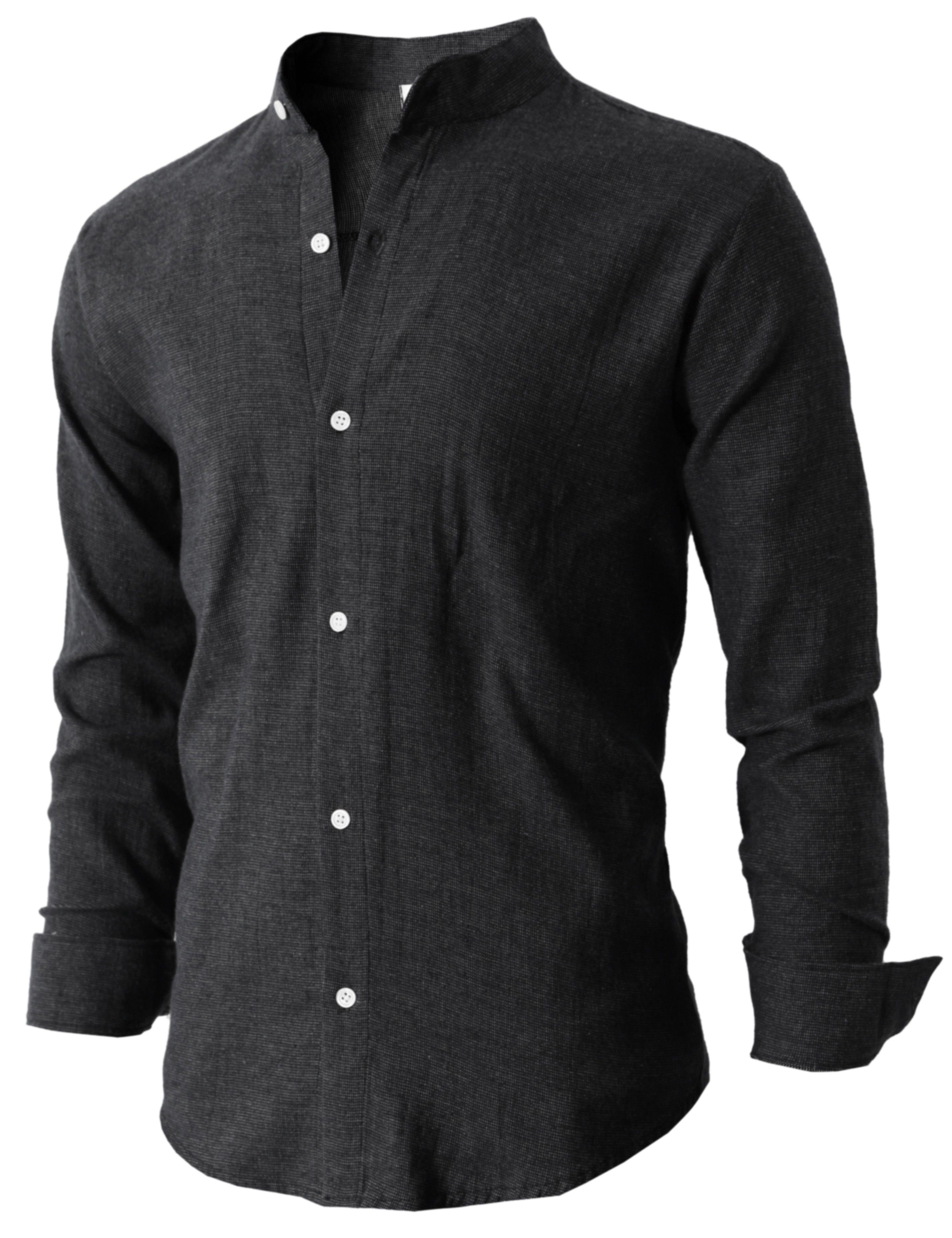Mandarin collar flannel  Mens Basic Mandarin Collar Flannel Shirt Comfortable Soft Cotton