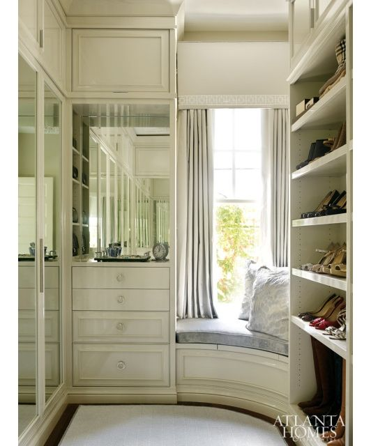 Luxurious Walk In Master Closet With A Built In Window Seat Bedroom Organization Closet Master Closet Design Closet Designs